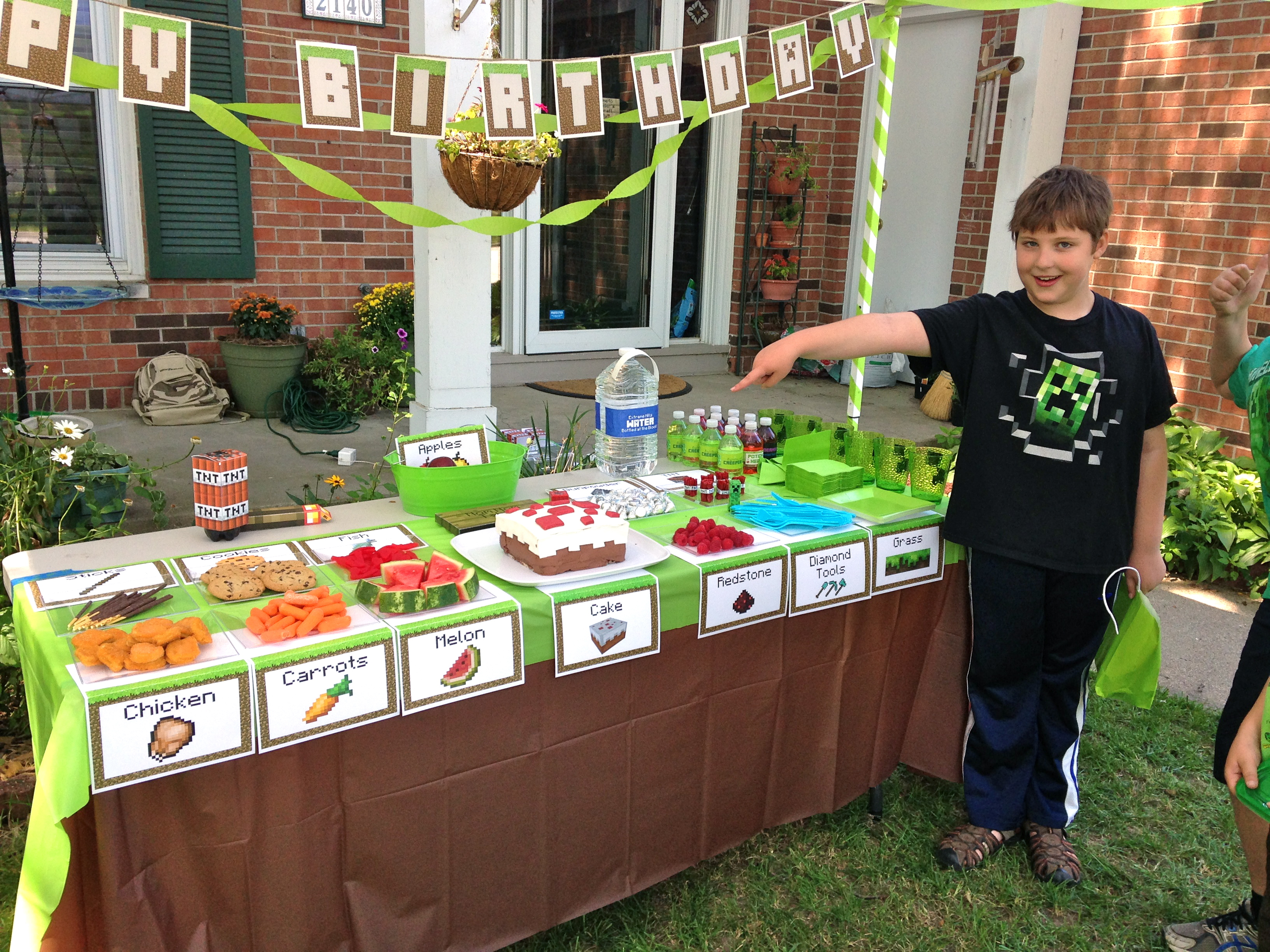 photograph relating to Minecraft Free Printable Food Labels referred to as An Epic Minecraft Birthday Occasion (with Game titles and Printables