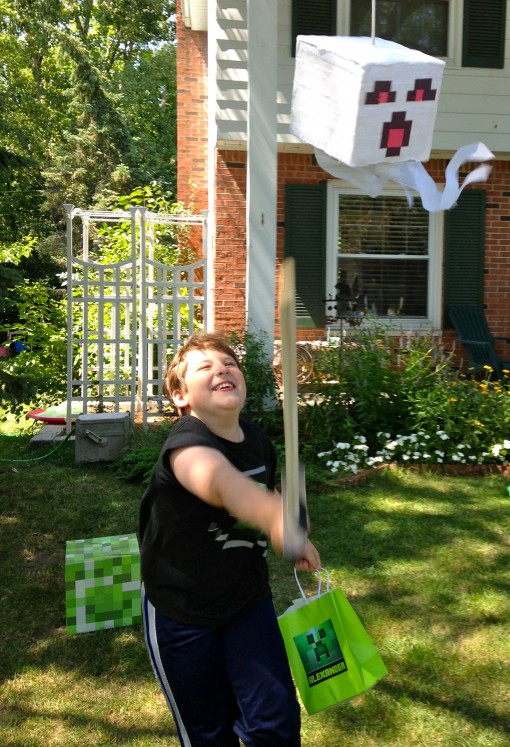 "alt=""Minecraft party ideas, activities, and printables for my son's epic party that was prepared in just one day -- includes ALL the printables we used! 