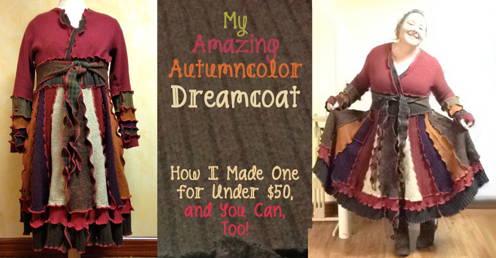 How to make an upcycled sweater coat, inspired by Katwise! It's easy and fun -- and cost less than $50. Learn how I did it, and how you can, too! | JenuineMom.com