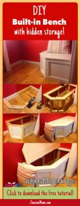 DIY built-in bench with hidden storage. Perfect for a closet nook. | JenuineMom.com