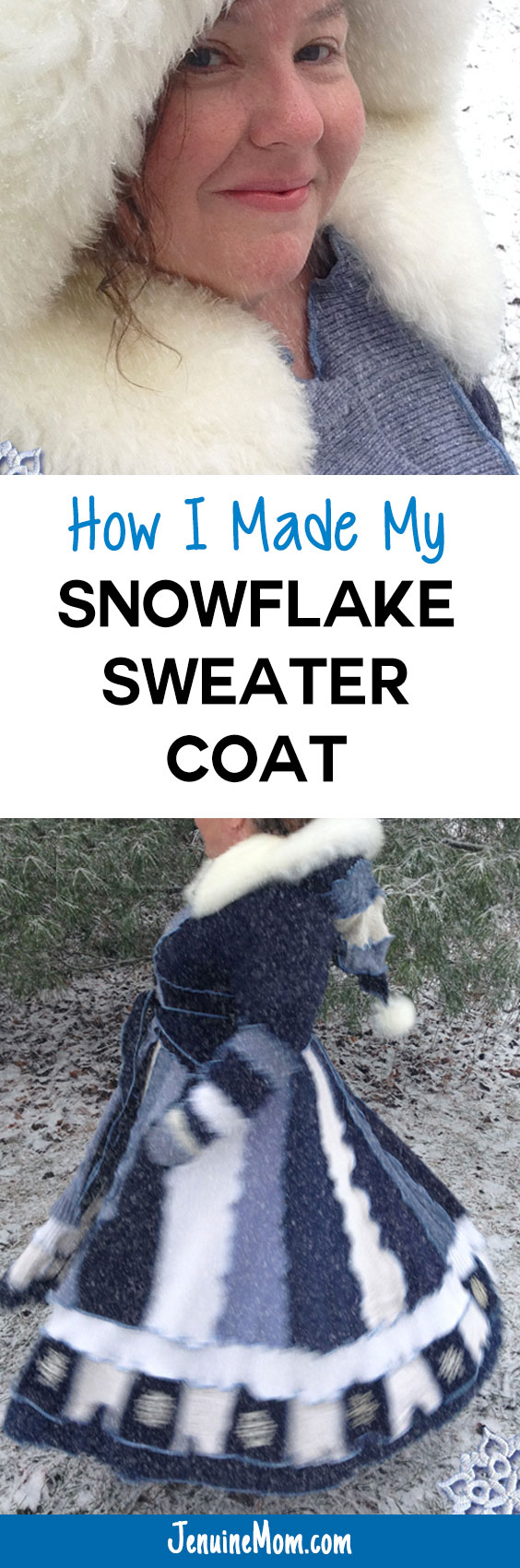How I Made My Snowflake Sweater Coat from Upcycled Sweaters! | JenuineMom.com