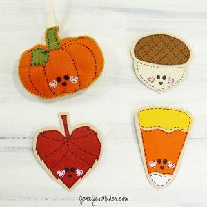 Autumn Felt Ornaments and Paper Card