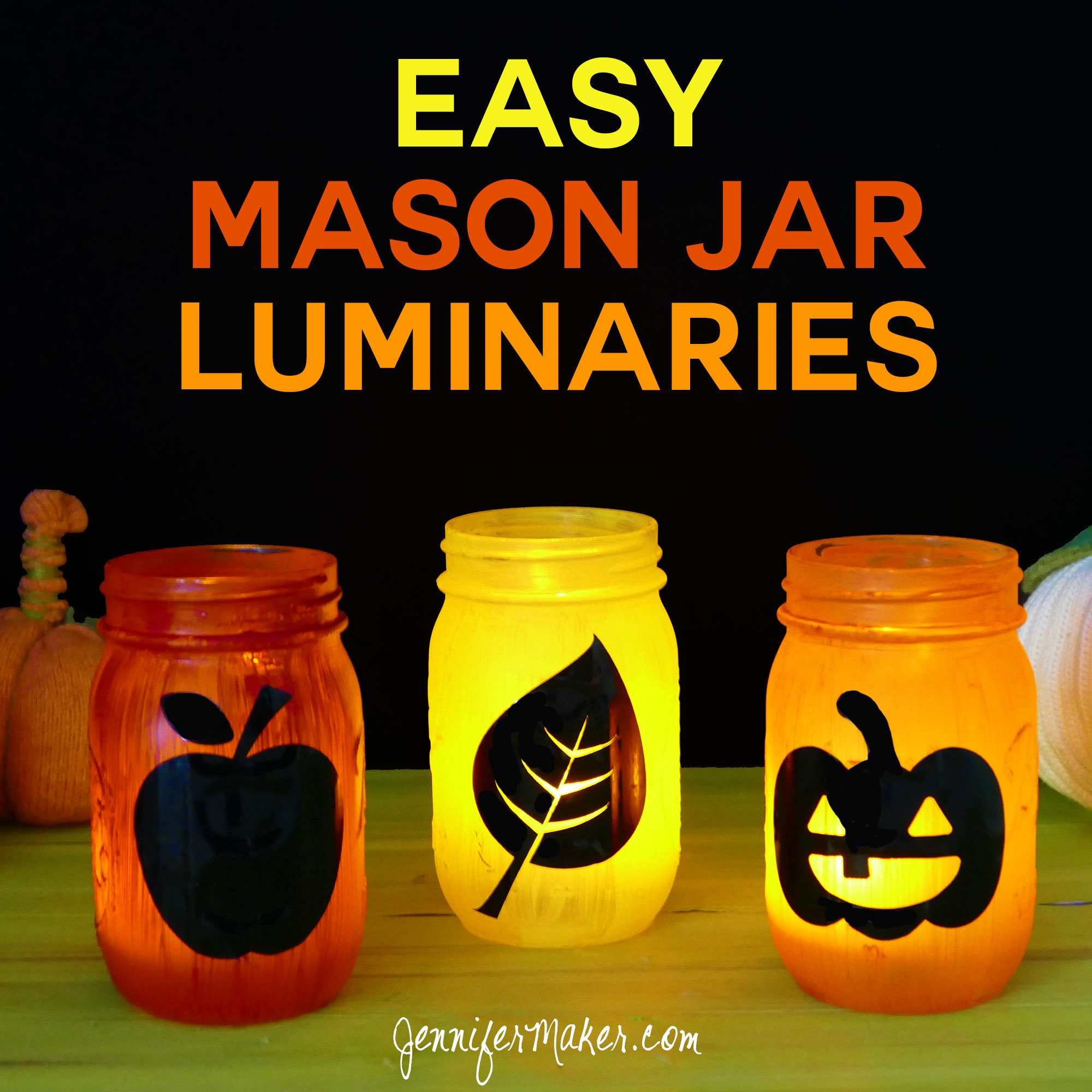 DIY Easy Mason Jar Luminaries for Halloween & Autumn | Luminarias | Patterns | Decorations