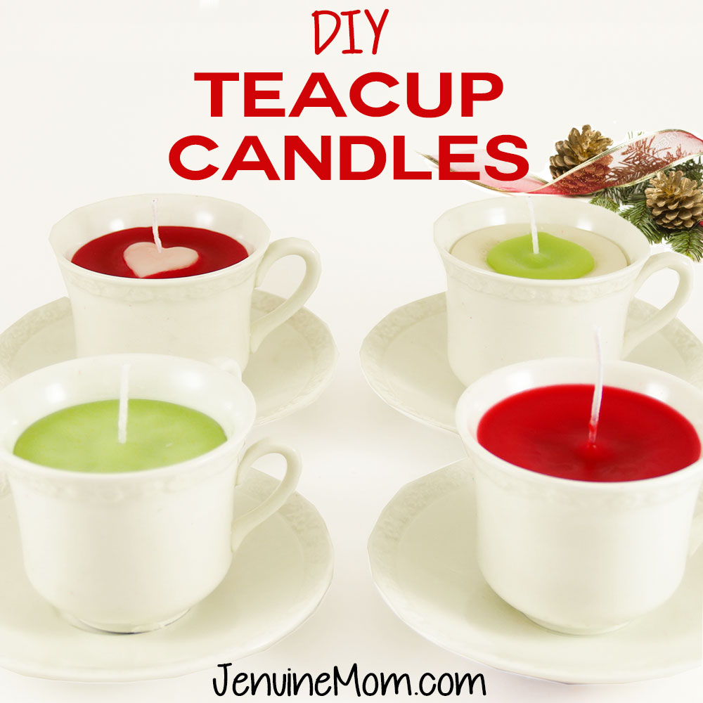 DIY Teacup Candles Tutorial | upcycle old candles | JenuineMom.com