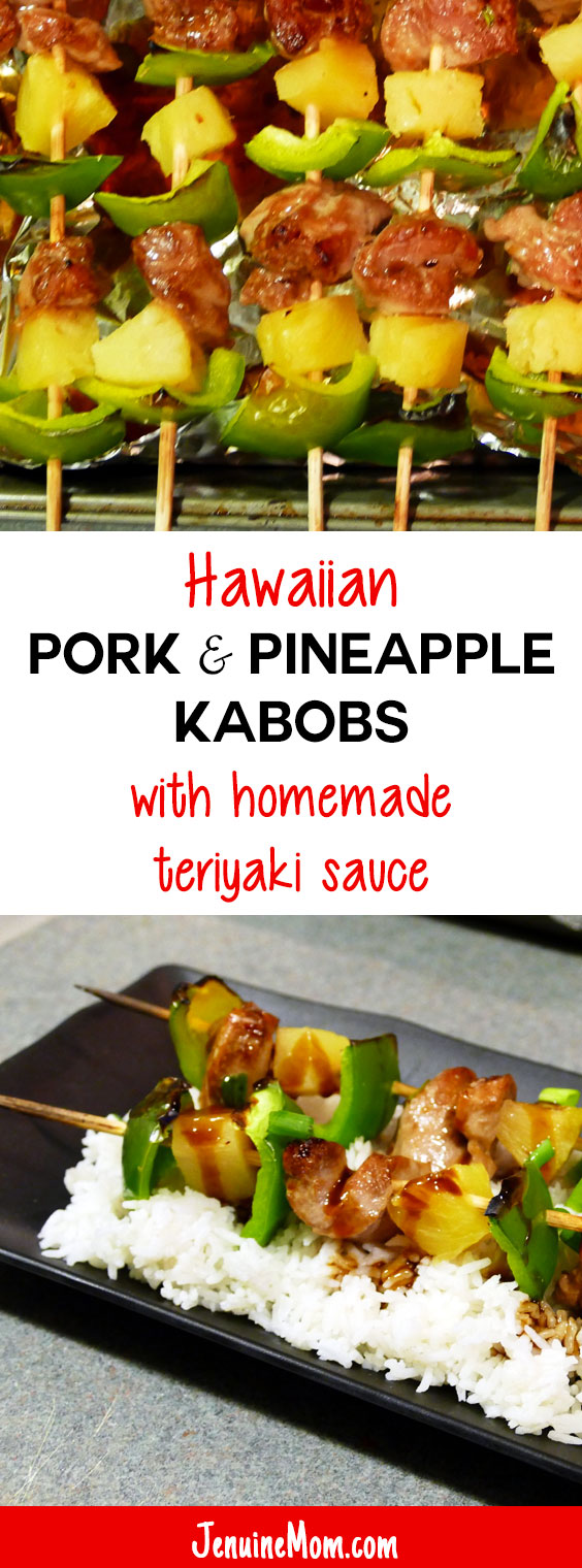 Hawaiian Pork & Pineapple Kabobs with Homemade Teriyaki Sauce | JenuineMom.com