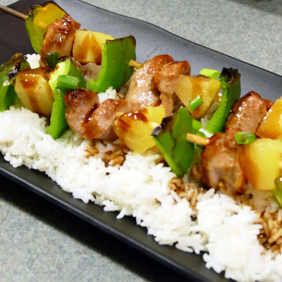 Hawaiian Pork & Pineapple Kabobs with Homemade Teriyaki Sauce