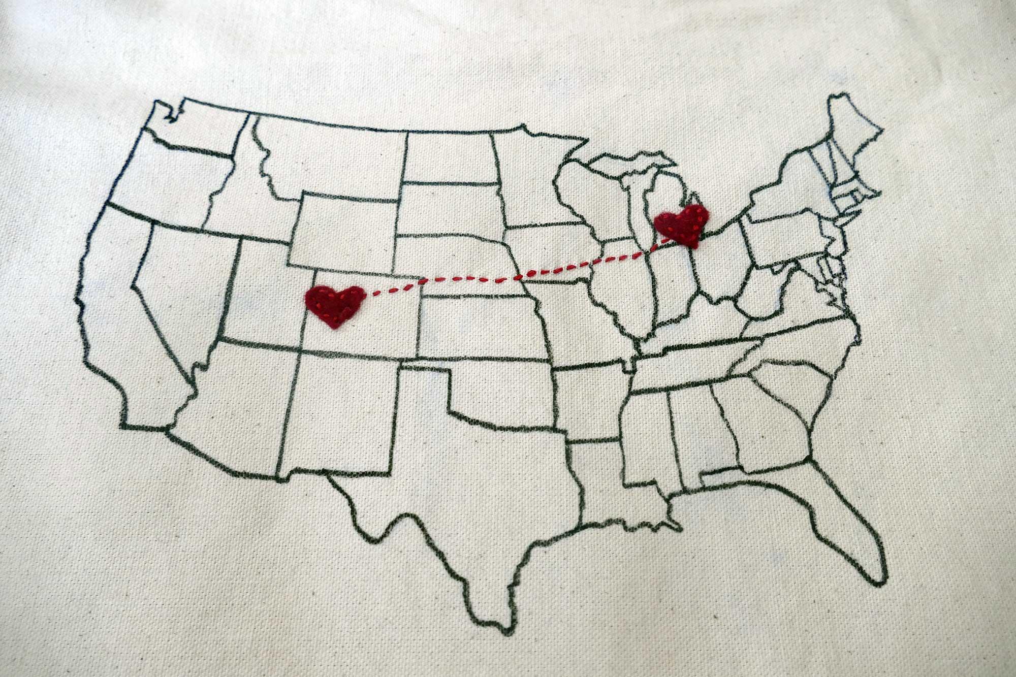 DIY Map Pillow With StatetoState Hearts Jennifer Maker - Us state map diy photos