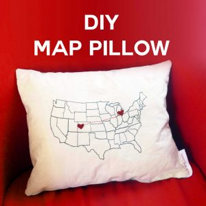 DIY Home Decor: DIY Map Pillow | State to State Hearts | #diy #homedecor