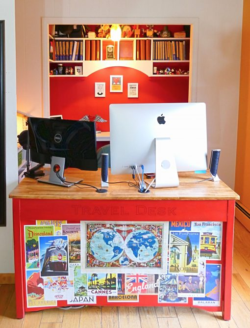 DIY Upcycled Computer Desk from an old console table