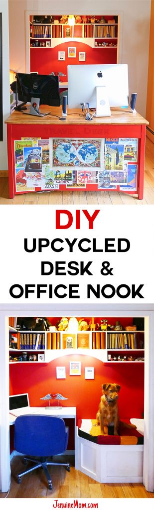 DIY Upcycled Computer Desk & Office Nook | JenuineMom.com