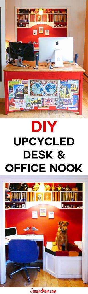 DIY Upcycled Computer Desk & Office Nook | JenuineMom.com
