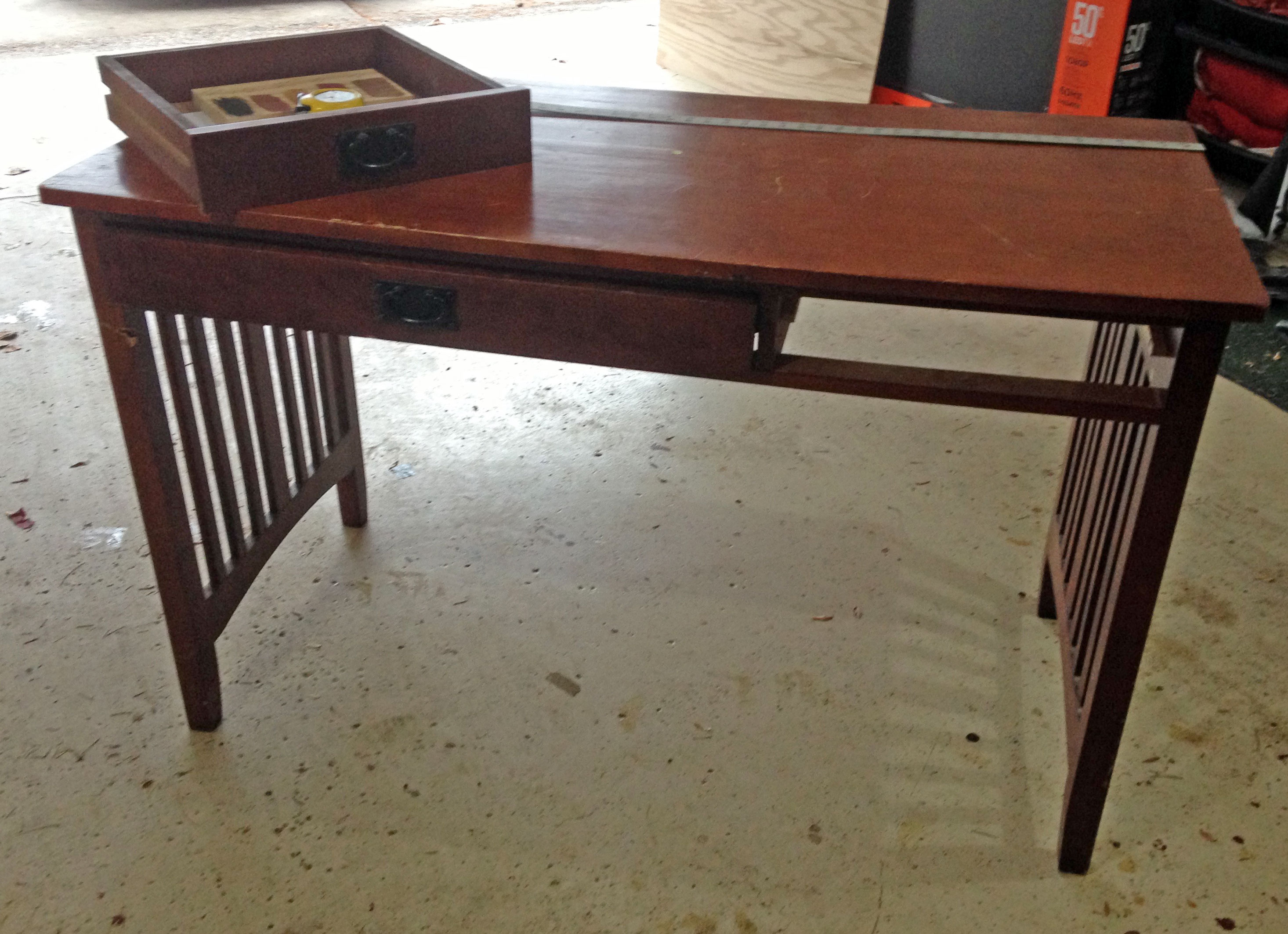 Diy Computer Desk From An Old Broken Foyer Table Upcycling Jenuinemom Com