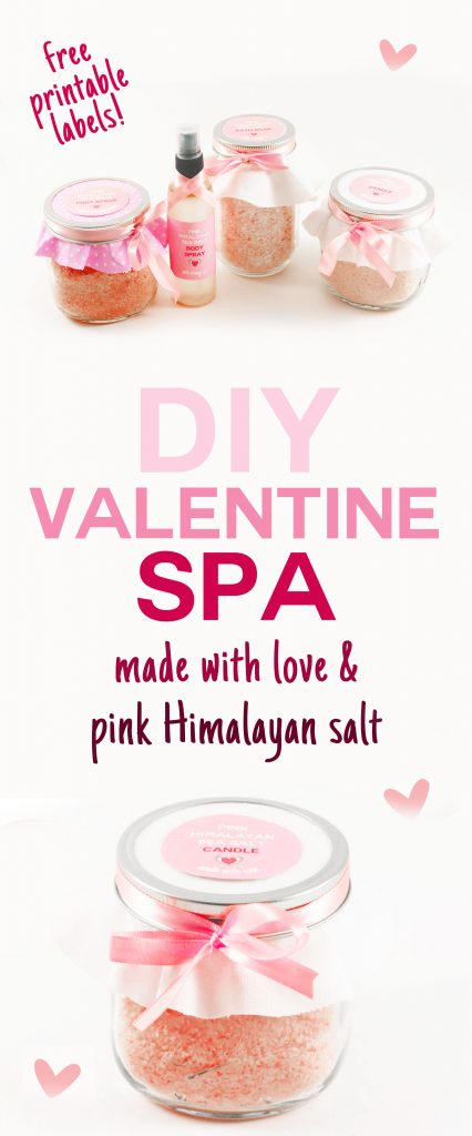 DIY Valentine Spa | Pink Himalayan Salt | Bath Salts | Foot Scrub | Body Spray | Aromatherapy Candle | JenuineMom.com