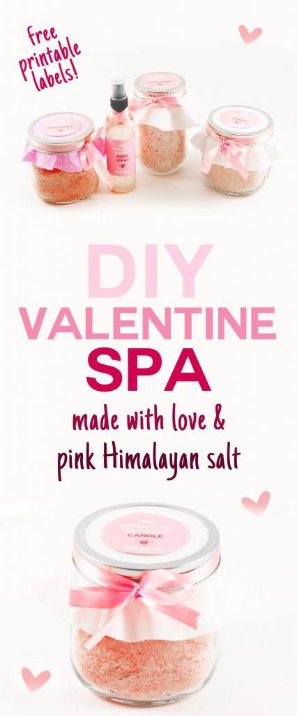 DIY Valentine Spa | Pink Himalayan Salt | Bath Salts | Foot Scrub | Body Spray | Aromatherapy Candle | JenuineMom.com