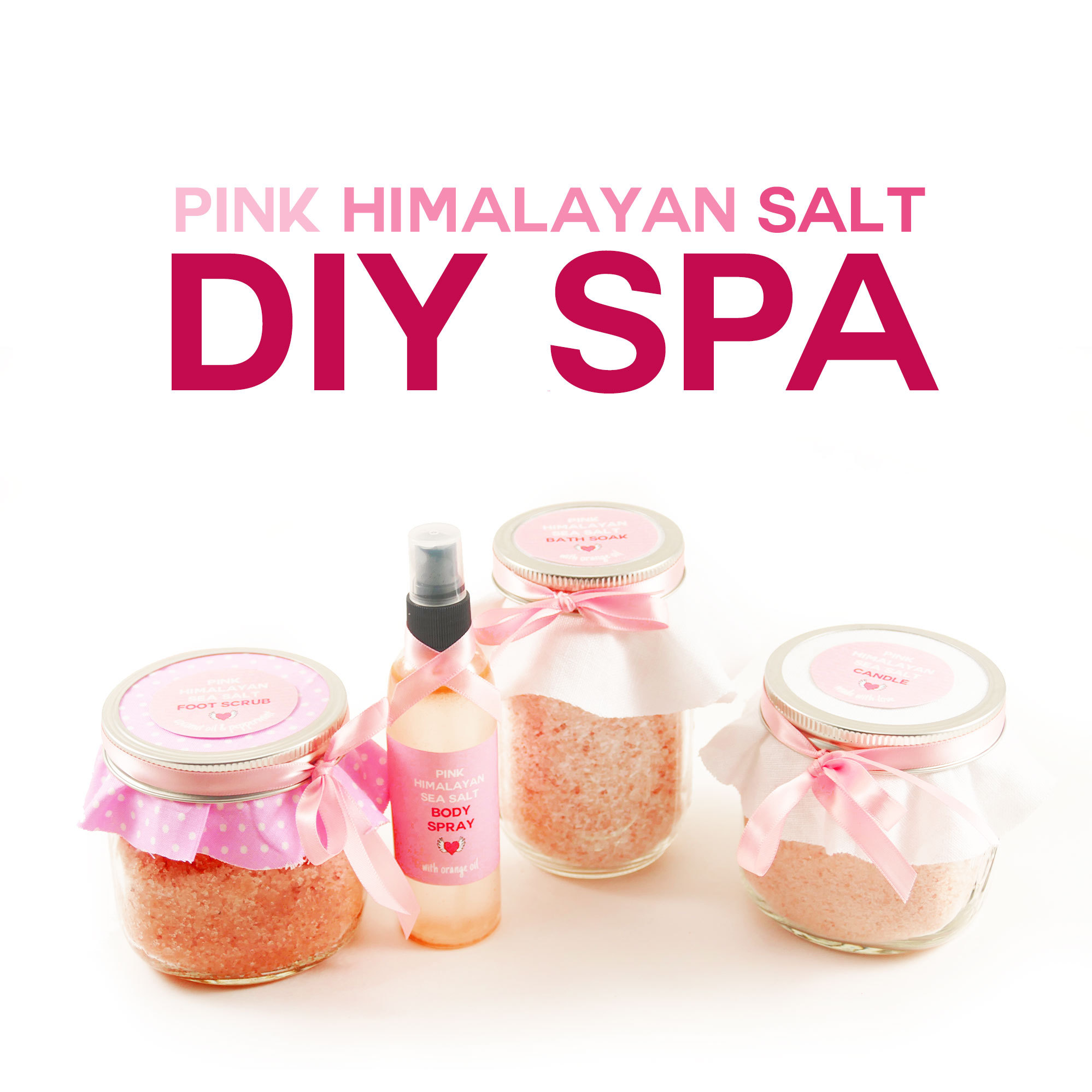 DIY Pink Himalayan Salt Spa | Bath Salts | Foot Scrub | Body Spray | Aromatherapy Candle | JenuineMom.com