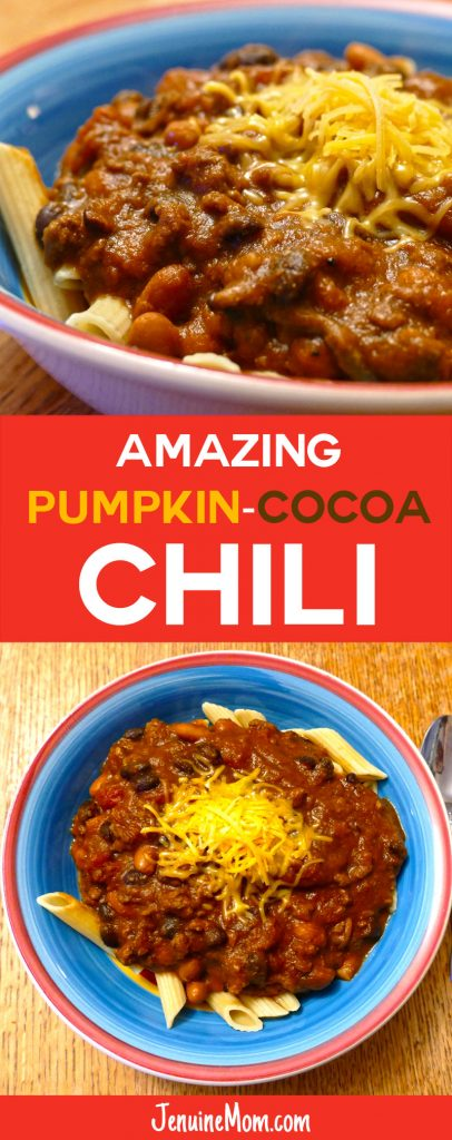 AMAZING Pumpkin-Cocoa Chili Recipe | Healthy | Weight Watchers Simply Filling | JenuineMom.com