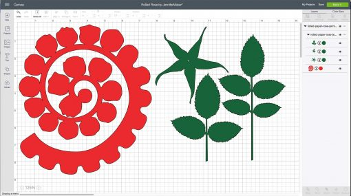 Uploading the rolled paper rose to Cricut DesignSpace