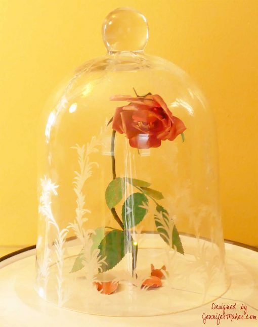 Diy Enchanted Rose Disney S Beauty The Beast Decorated Bell Jar Cloche Jennifermaker