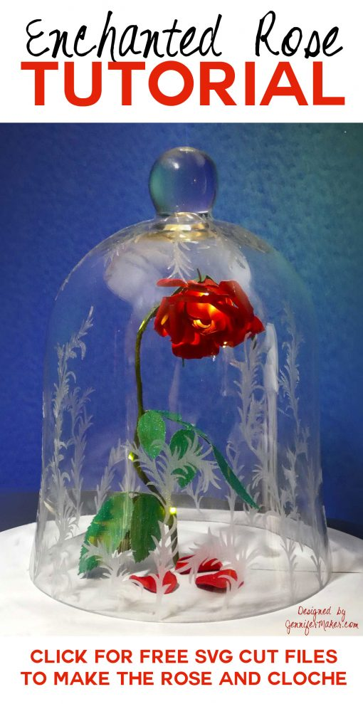 DIY Enchanted Rose | Disney's Beauty & the Beast | Decorated Bell Jar Cloche | JenniferMaker.com
