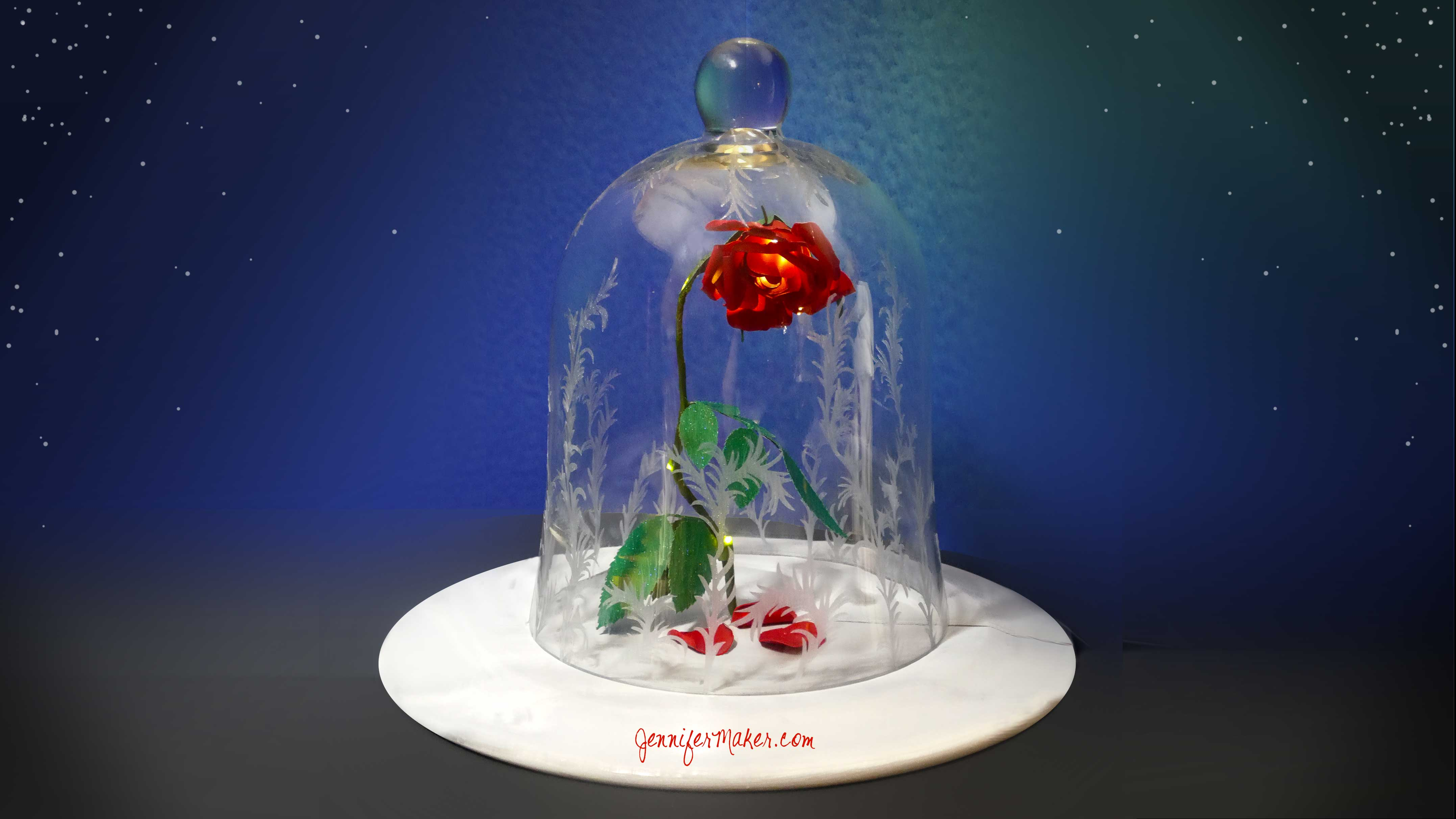 DIY Enchanted Rose | Disney's Beauty & the Beast | Decorated Bell Jar Cloche | Magic Light Up Rose