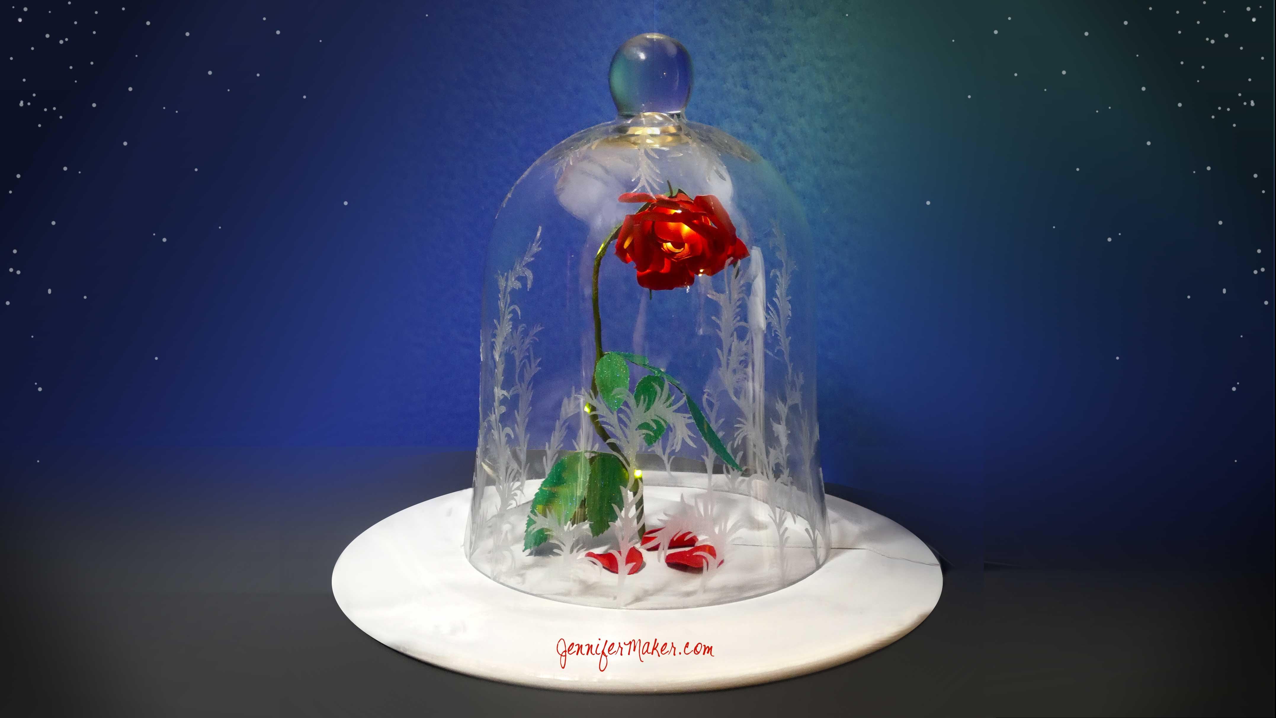Diy Enchanted Rose Disney S Beauty The Beast Decorated Bell Jar Cloche Magic