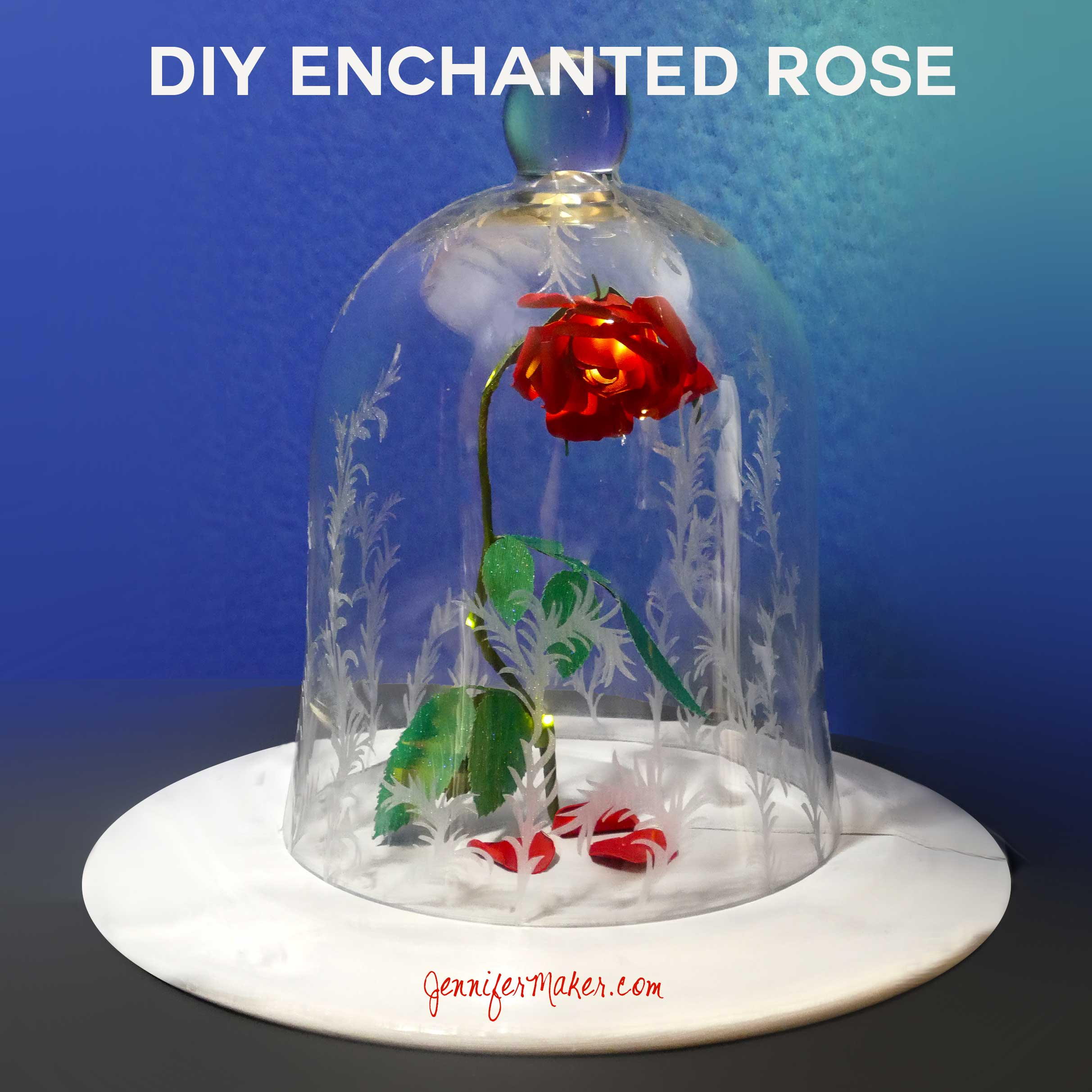 Diy Beauty The Beast Rose Jar Its Enchanted Jennifer Maker Flower Diagram Origami Disneys Decorated Bell Cloche Jennifermaker