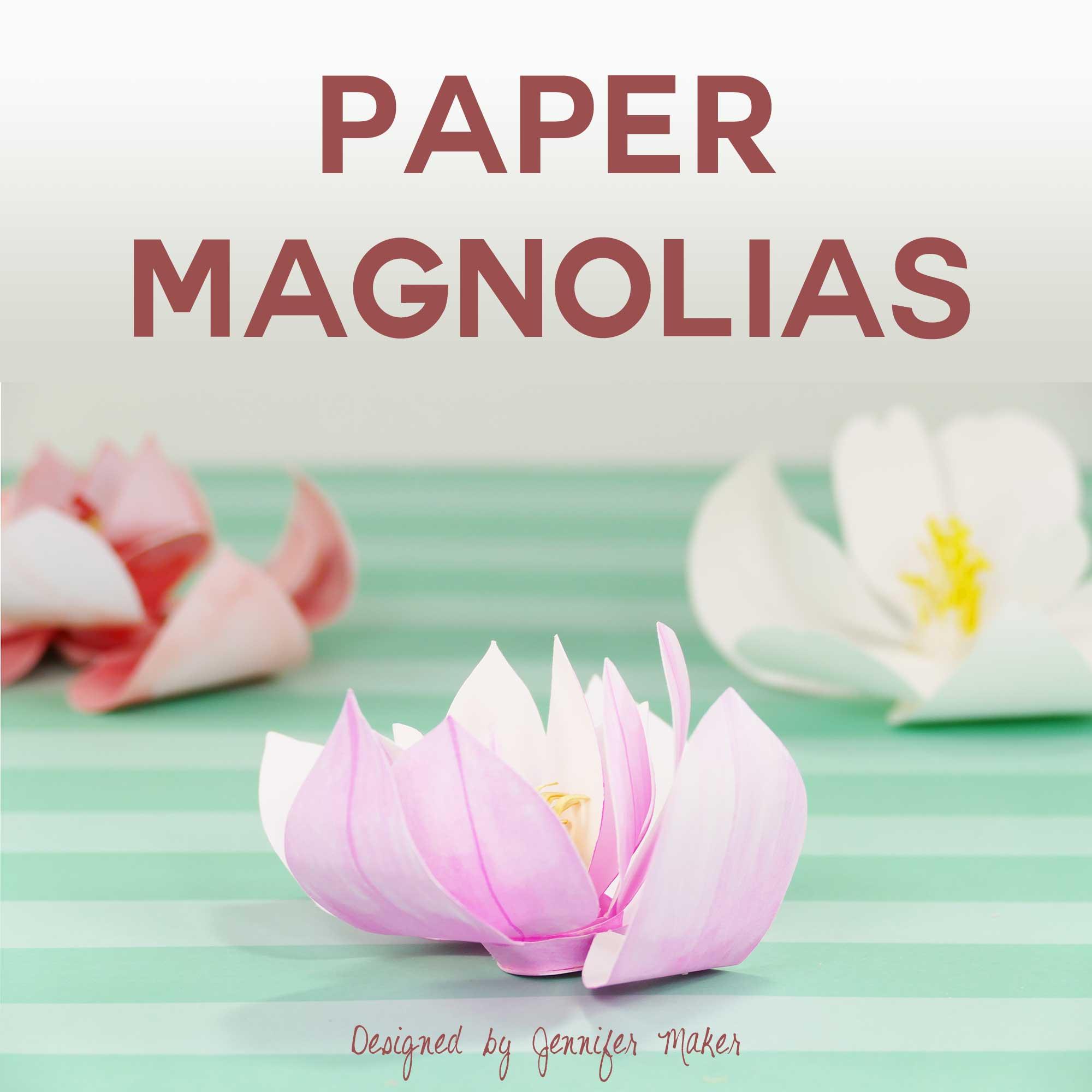 DIY Paper Magnolia | Rolled Flower | Quilling | JenniferMaker.com