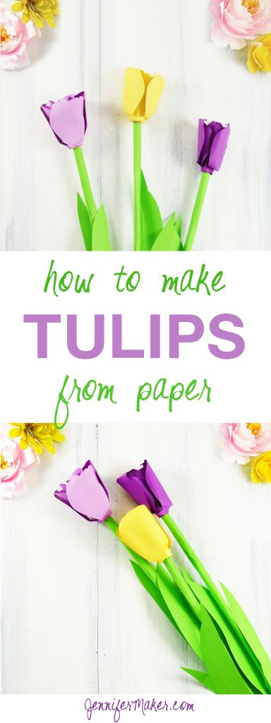Paper Tulip Tutorial | Rolled Flower | Quilling | JenniferMaker.com