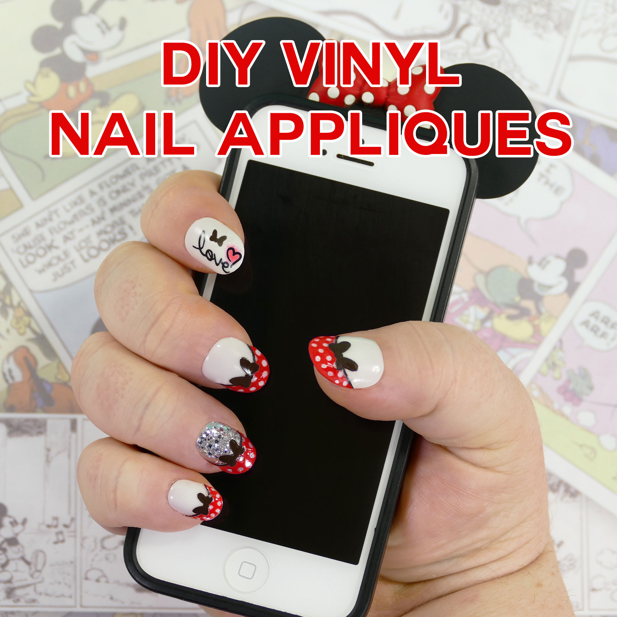 DIY Minnie Mouse Vinyl Nail Appliques | Made on the Cricut | JenniferMaker.com
