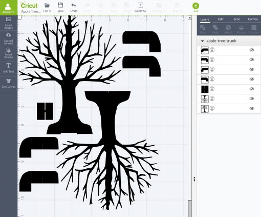 Upload the Pop Up Apple Tree SVG files into Cricut Design Space