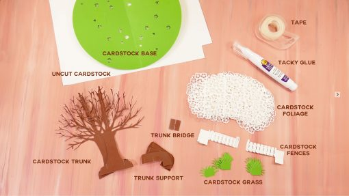 Materials for an 3D Sliceform Apple Tree Pop-Up Card