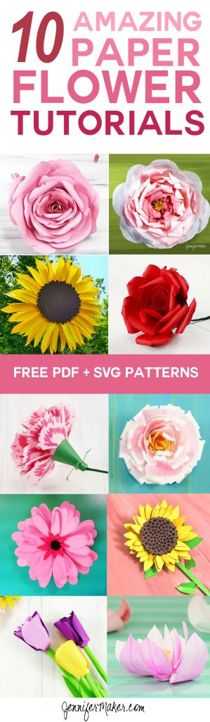 10 Paper Flower Tutorials with Free PDF/SVG Templates | How to Make DIY Paper Flowers