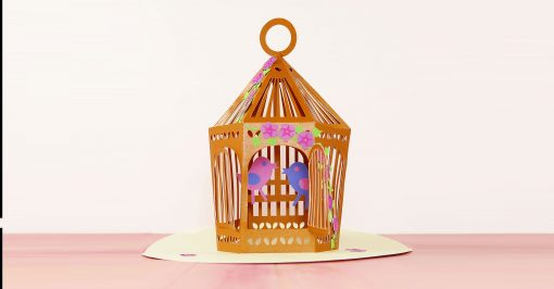 Pretty paper pop-up birdcage