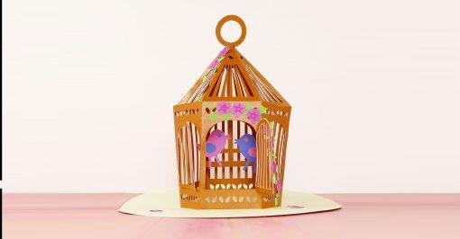 Pretty paper pop-up birdcage