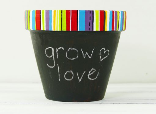 Write a message on your chalkboard flower pot