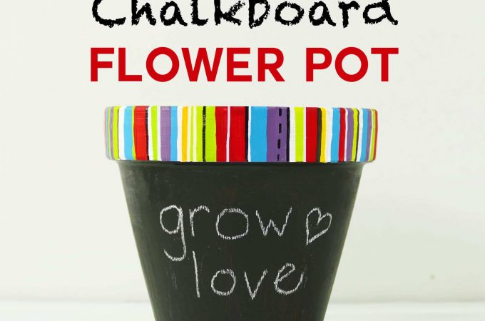 DIY Chalkboard Flower Pot with a Custom-Painted Rim