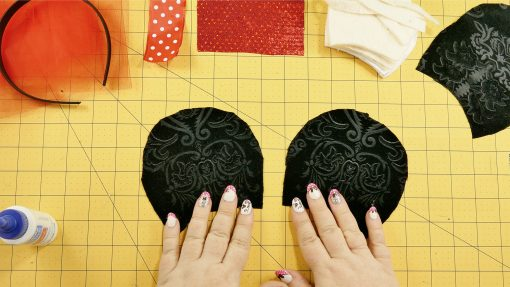 Cut out the fabric for your DIY Mouse Ears