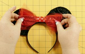 Adjust the bow on the DIY Mouse Ears