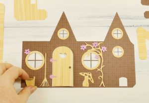 Decorating a Fairy House Card that mails flat, then pops up! Free SVG files.