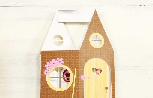 Gluing the roof hinge for the Fairy House Card