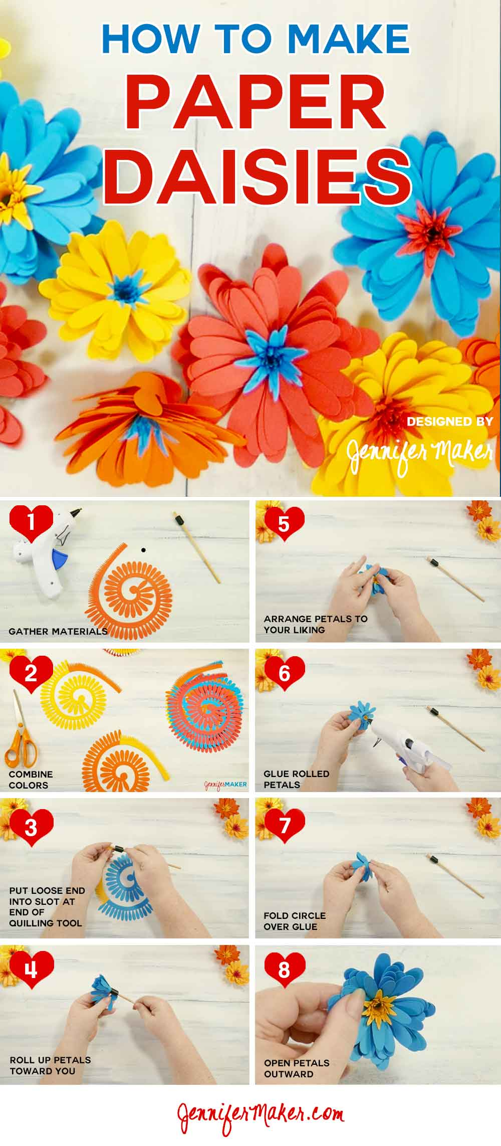 How to Make a Paper Daisy Tutorial | Rolled Flower | Gerbera Daisy | Quilled Flower | DIY Paper Flower