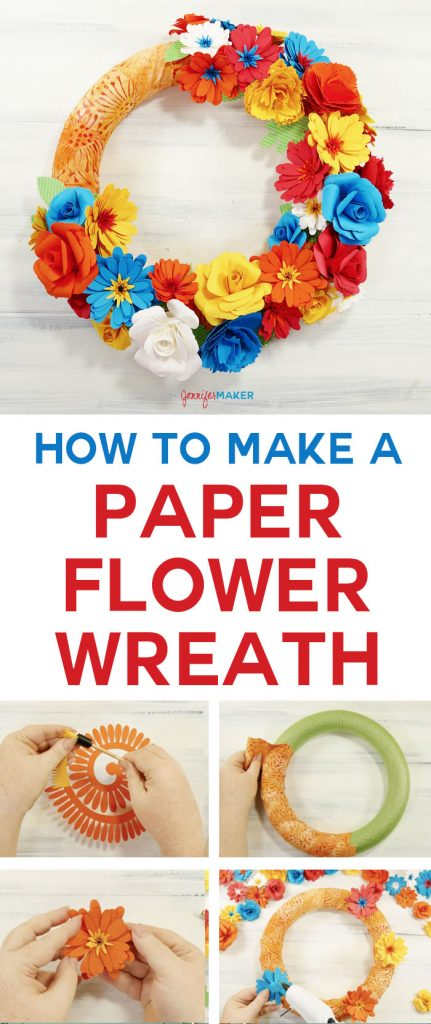 How to Make a Paper Flower Wreath | Cricut | Summer | Rolled Flowers | Craft Tutorial | DIY Paper Flowers