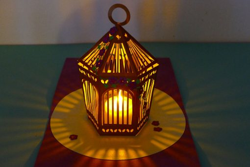 Put in a tea light to make a birdcage luminary!