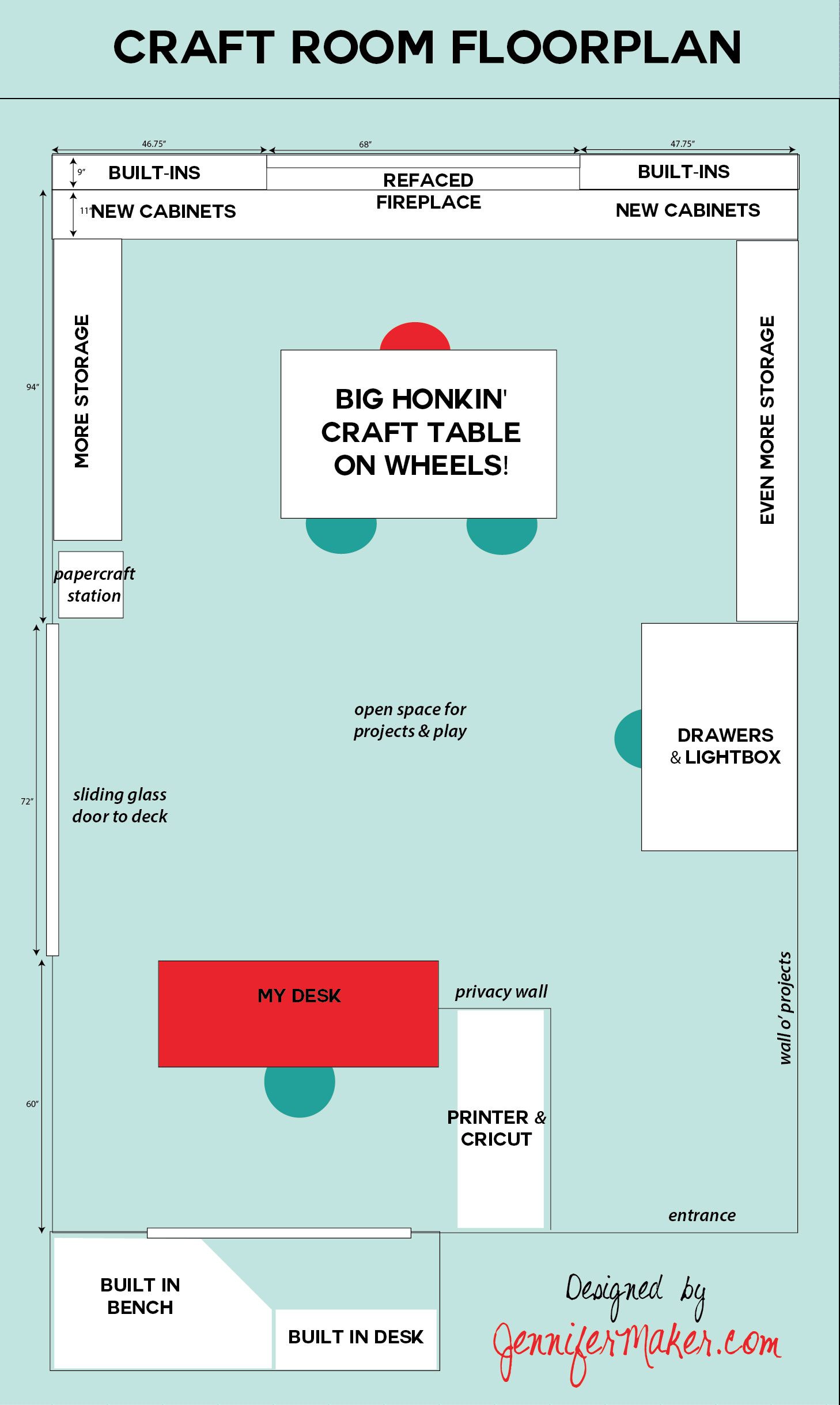 Planning the ultimate craft room jennifer maker - Room layout planner free ...