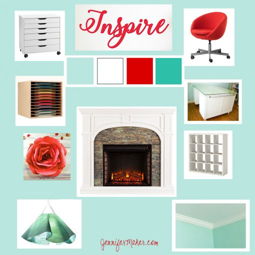 An aqua, teal, and red mood board