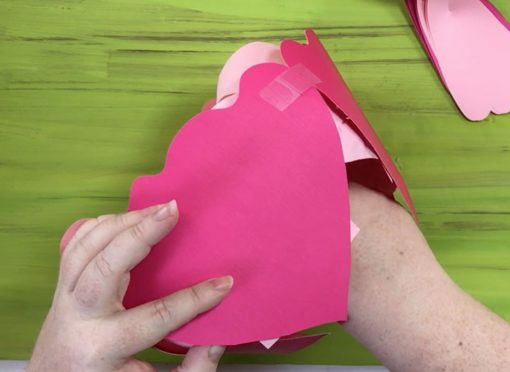 Attach inner petal 2 from the bottom of the paper peony