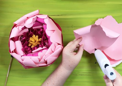 Attaching outer petals to the giant paper peony