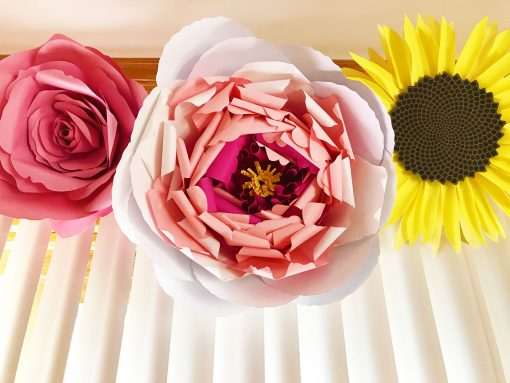 Paper Flower WIndow Valance | Giant Rose, Giant Peony, Giant Sunflower