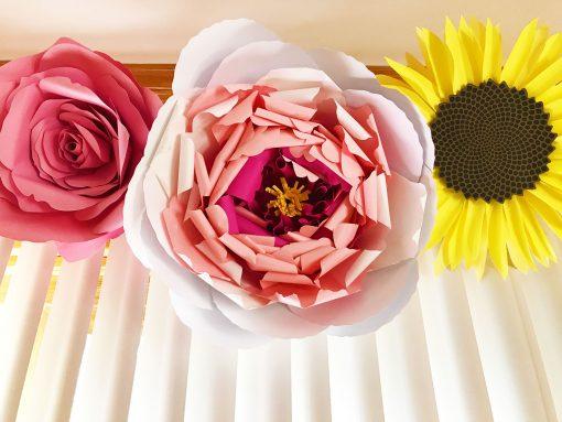 Paper Flower WIndow Valance | Giant Rose, Giant Peony, Giant Sunflower