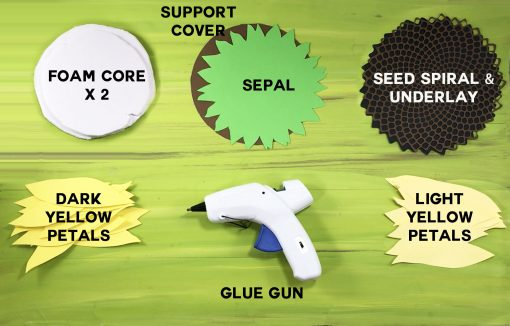 Materials needed to make a paper sunflower
